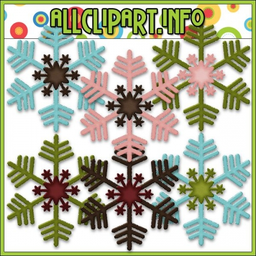 "Snowman Delights Snowflakes Digital Scrap / Card Making Elements - "".00"