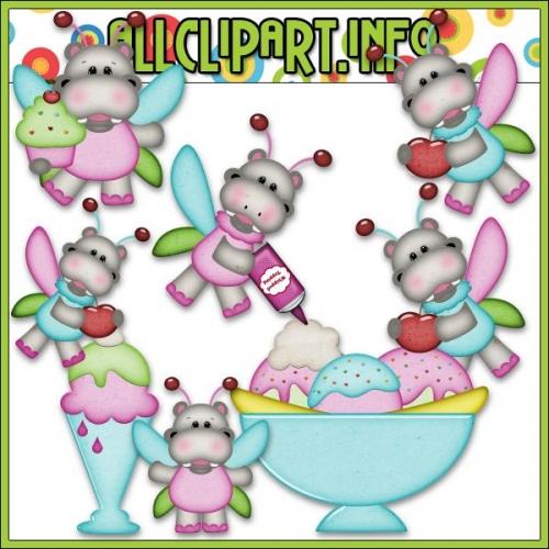 """Sweet Stuff Fairy Hippos 2 Clip Art by AllClipART.info - """".00"""