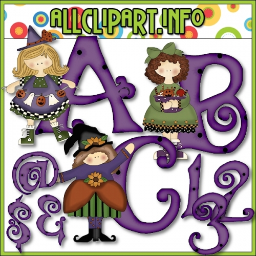 """Halloween Gals Lettering Delights Clip Art by Cheryl Seslar - alt=""""Halloween Gals Lettering Delights Clip Art by Cheryl Seslar - $1.00"""" .00"""