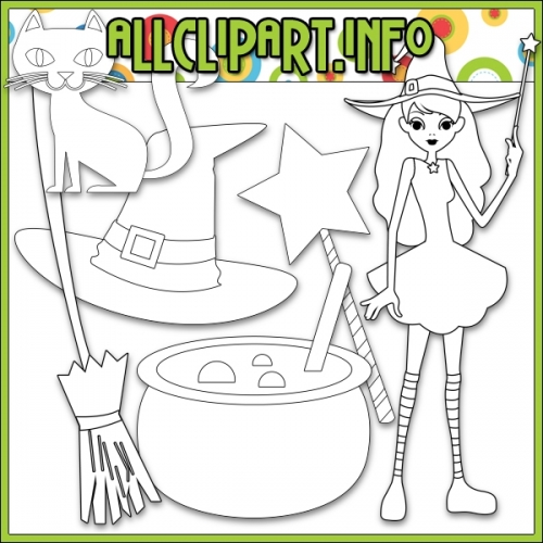 "Halloween Witch by AllClipART.info - Digi Stamps - "".00"