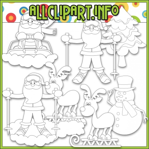 "Snow Fun Santa by AllClipART.info - Digi Stamps - "".00"