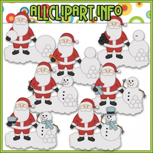 "Santa Builds A Snowman Clip Art by AllClipART.info - "".00"