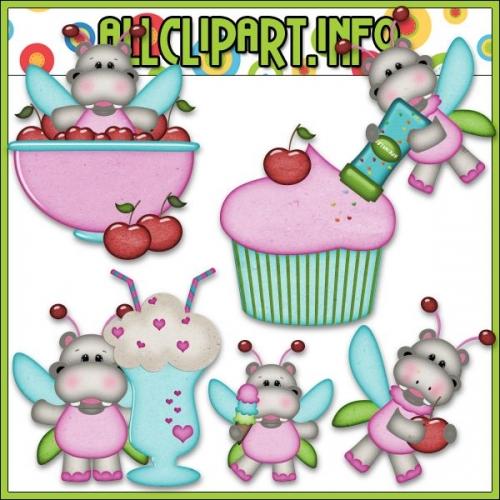 """Sweet Stuff Fairy Hippos 1 Clip Art by AllClipART.info - """".00"""