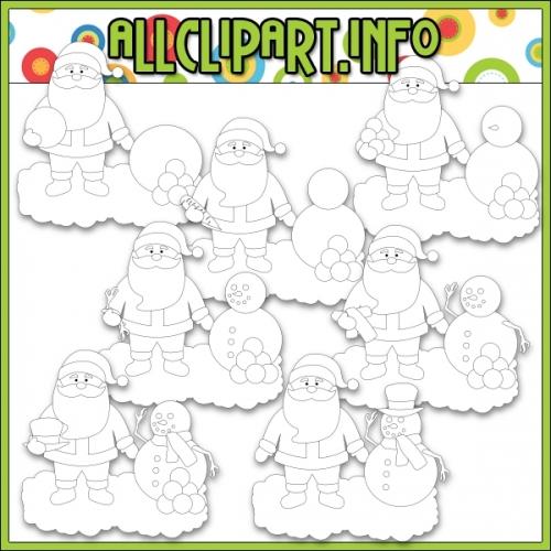 """Santa Builds A Snowman by AllClipART.info - Digi Stamps - """".00"""