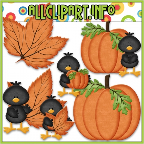 "Fall Colors Crows (Orange) Clip Art by AllClipART.info - "".00"