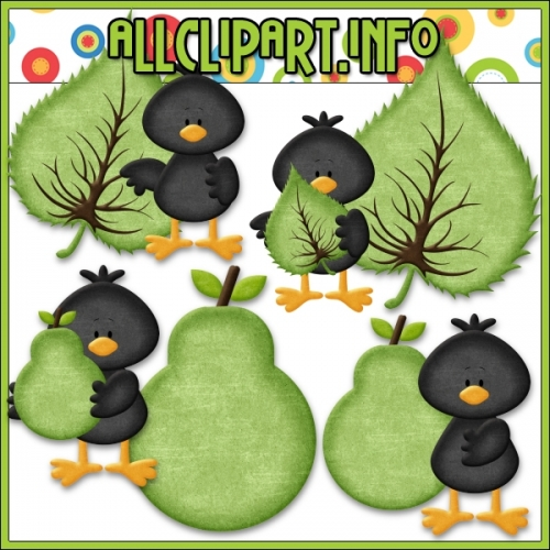 "Fall Colors Crows (Green) Clip Art by AllClipART.info - "".00"