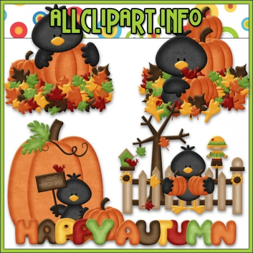 "Pumpkin Patch Crows 1 Clip Art by AllClipART.info - "".00"