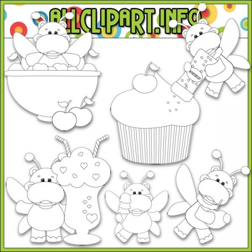 "Sweet Stuff Fairy Hippos 1 Digital Stamps - "".00"