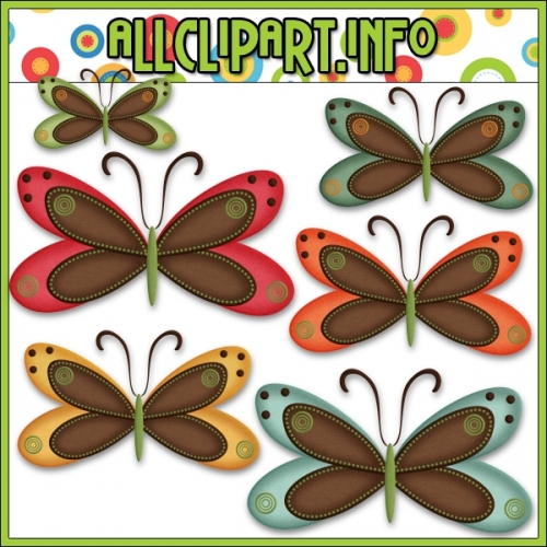 "Fall Butterflies (Brown) Clip Art by AllClipART.info - "".00"