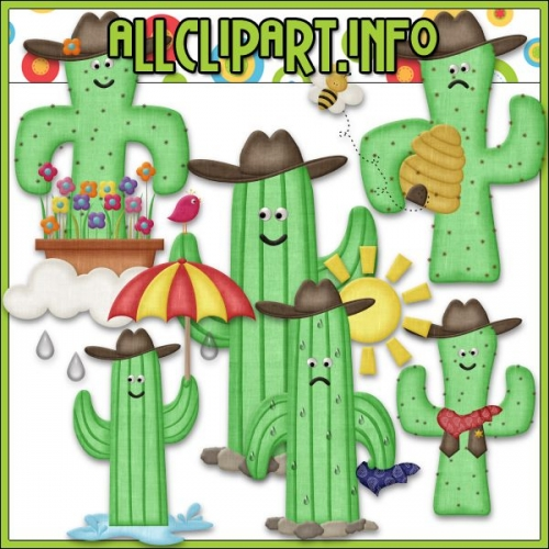 "Googley Eyed Cowboy Cactus Clip Art by AllClipART.info - "".00"