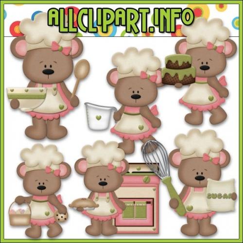 """Betsy Loves Baking Bears Clip Art (Pink) - """".00"""