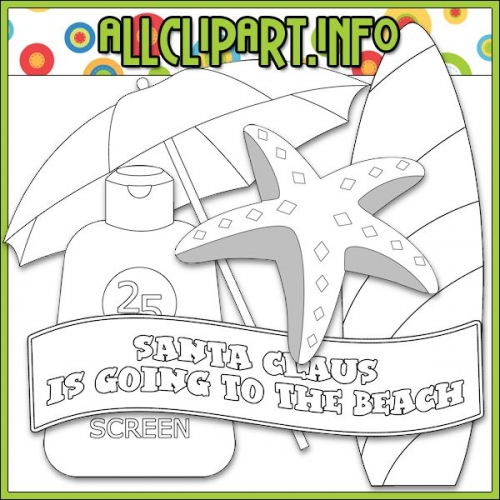 "Beach Fun Santa Accents 2 Digital Stamps - "".00"