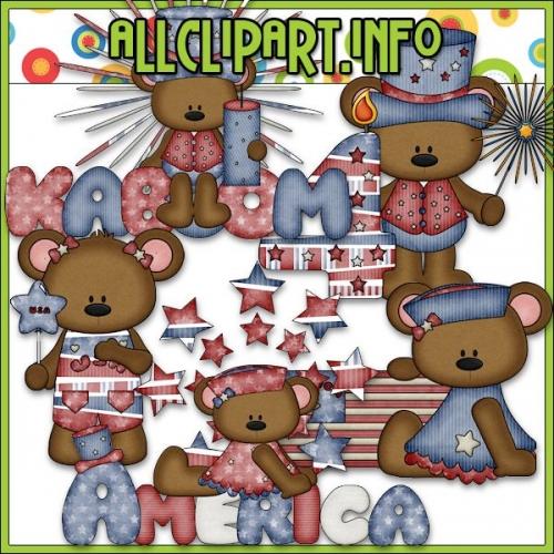 "I Love America Bears Clip Art 2 - "".00"