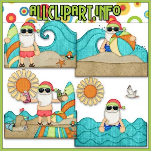 "Beach Fun Santa Scenes 1 Clip Art - "".00"