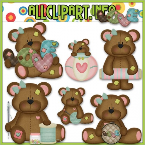 "I Love You Sew Bears Clip Art - "".00"