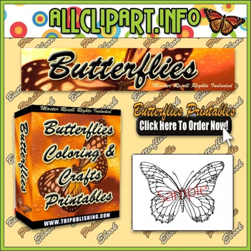 Butterflies Printable Coloring & Crafts eBook - .00