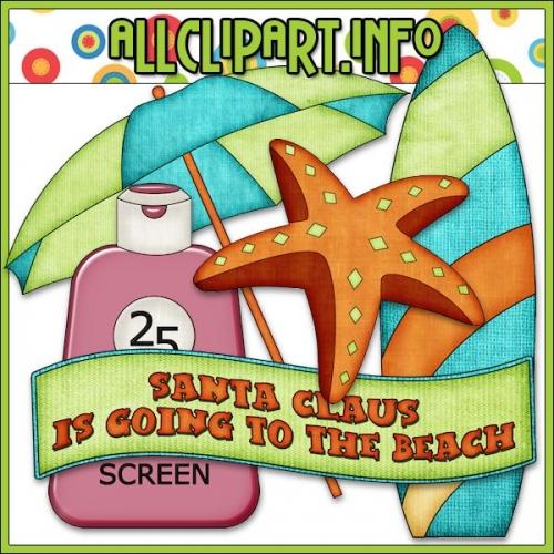 """Beach Fun Santa Accents 2 Clip Art - """".00"""