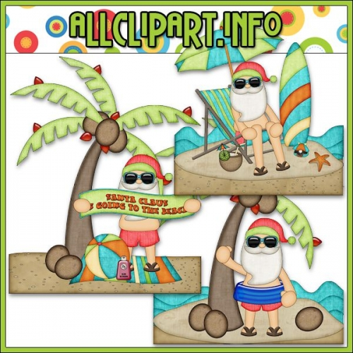 "Beach Fun Santa Scenes 2 Clip Art - "".00"