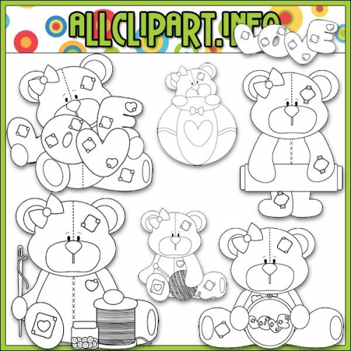 "I Love You Sew Bears Digital Stamps - "".00"