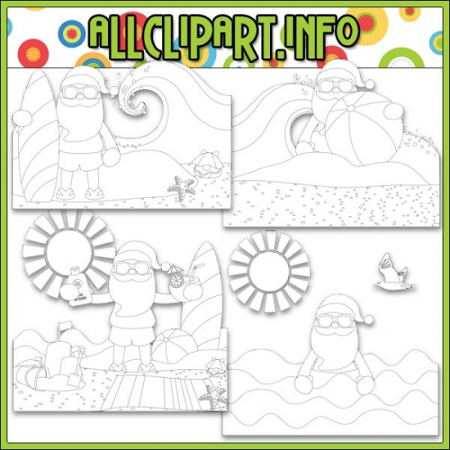 "Beach Fun Santa Scenes 1 Digital Stamps - "".00"
