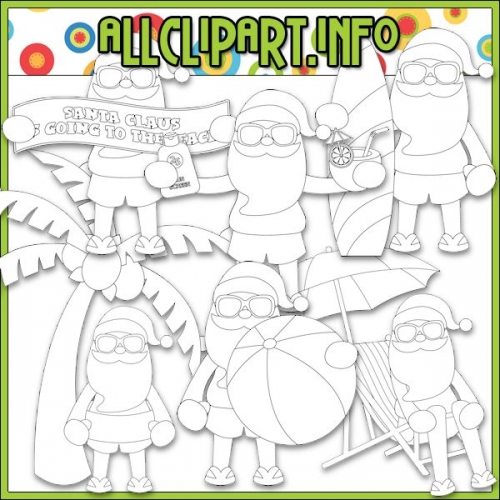 "Beach Fun Santa Digital Stamps - "".00"