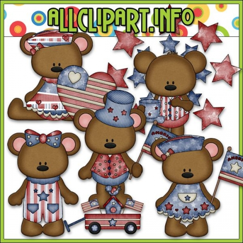 "I Love America Bears Clip Art 1 - "".00"
