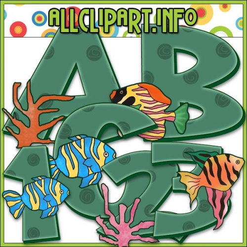 "Tropical Fish Lettering Delights Alphas - alt=""Tropical Fish Lettering Delights Alphas - $1.00"" .00"
