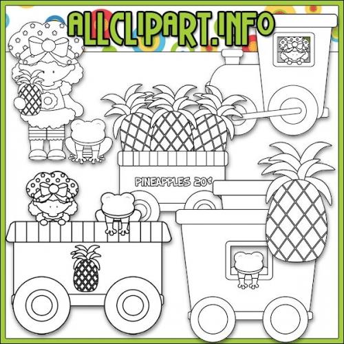 """Berry Sweet Choo Choo (Pineapple) Digital Stamps - """".00"""