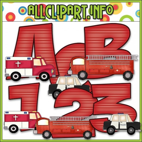 "Emergency Vehicles Lettering Delights Alphas - alt=""Emergency Vehicles Lettering Delights Alphas - $1.00"" .00"