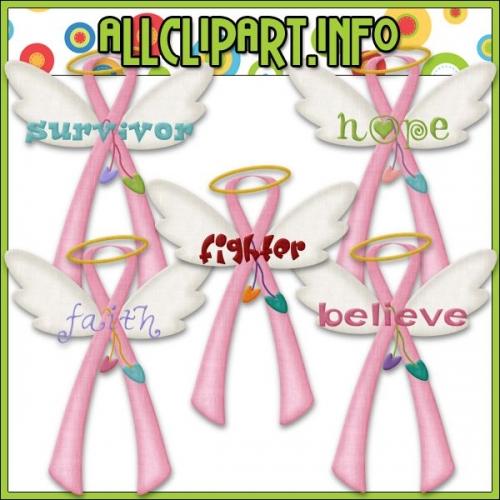 """Angel Awareness Ribbons (Pink) Clip Art - """".00"""