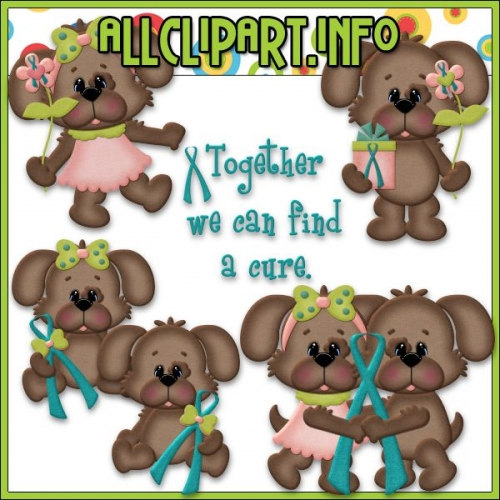 "Ovarian Cancer Awareness Pups Clip Art - "".00"