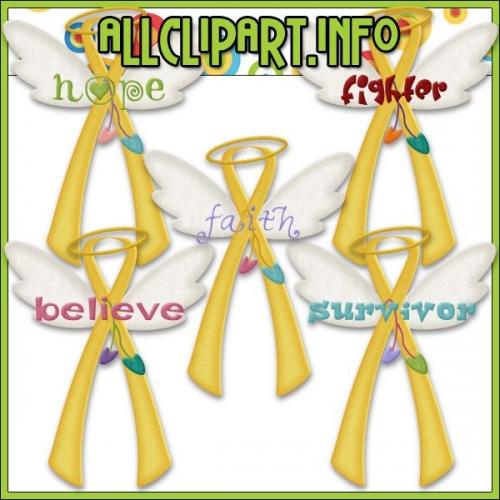 "Angel Awareness Ribbons (Gold / Yellow) Clip Art - "".00"