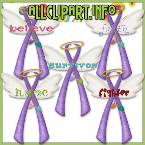 "Angel Awareness Ribbons (Purple) Clip Art - "".00"