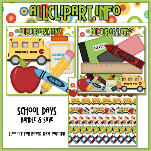 "School Days Clip Art Bundle - "".00"
