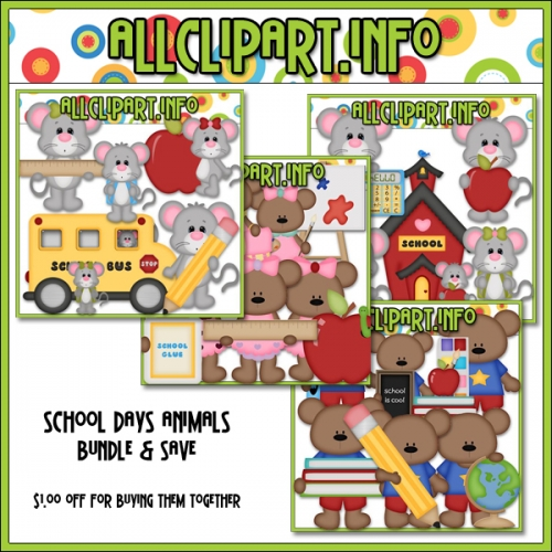 "School Days Animals Clip Art Bundle - "".00"
