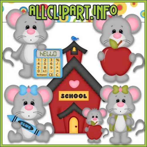 "School Days Mice 1 Clip Art - "".00"