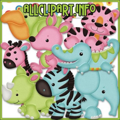 "Safari Babies Clip Art - "".00"