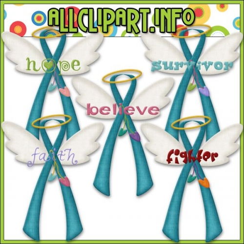 "Angel Awareness Ribbons (Teal) Clip Art - "".00"