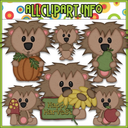 "Happy Harvest Hedgehog 1 Clip Art - "".00"
