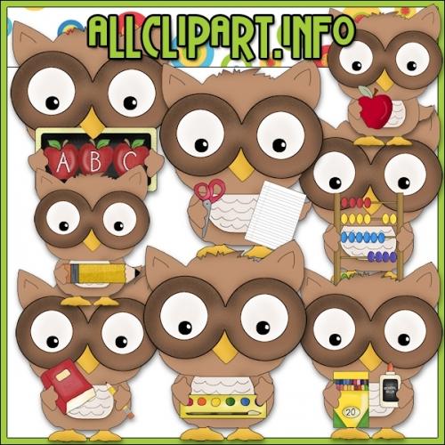 """Little School Owls Clip Art - alt=""""Little School Owls Clip Art - $1.00"""" .00"""