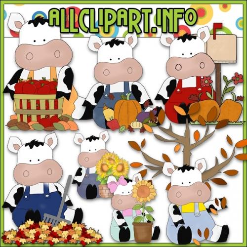 """Fall Fun Cows Clip Art - alt=""""Fall Fun Cows Clip Art - $1.00"""" .00"""