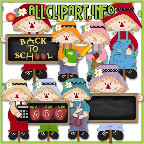 """Back To School Scarecrows Clip Art - alt=""""Back To School Scarecrows Clip Art - $1.00"""" .00"""