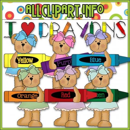 """Sweet Little Crayon Bears Clip Art - alt=""""Sweet Little Crayon Bears Clip Art - $1.00"""" .00"""