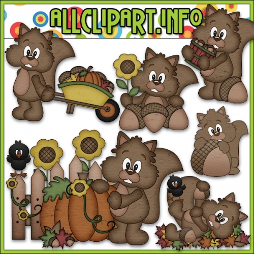 "Nuts About Autumn Squirrels Clip Art - "".00"