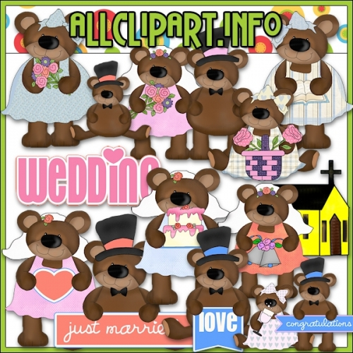 "Bear Wedding Day Clip Art - alt=""Bear Wedding Day Clip Art - $1.00"" .00"