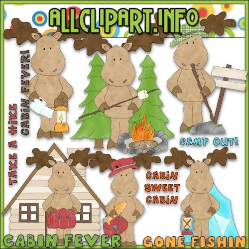 "Camping Out Moose Clip Art - alt=""Camping Out Moose Clip Art - $1.00"" .00"