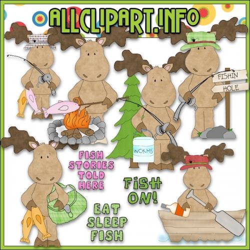 "Gone Fishing Moose Clip Art - alt=""Gone Fishing Moose Clip Art - $1.00"" .00"