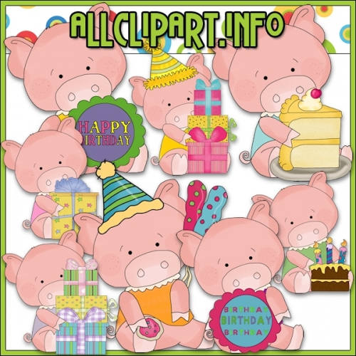 "Birthday Party Pigs Clip Art - alt=""Birthday Party Pigs Clip Art - $1.00"" .00"