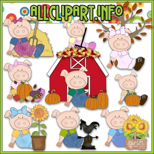 "Fall Fun Pigs Clip Art - alt=""Fall Fun Pigs Clip Art - $1.00"" .00"