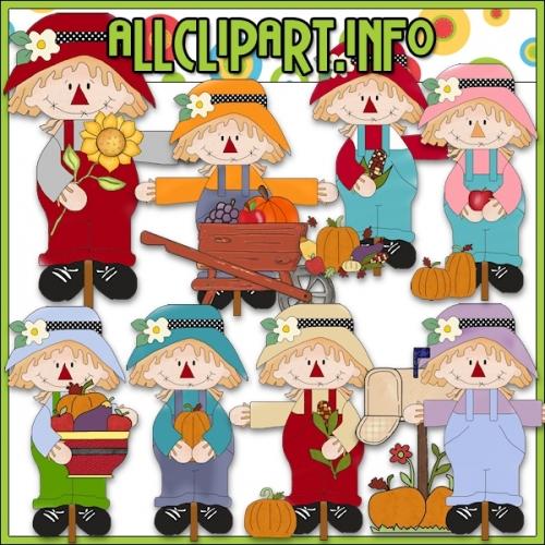 "Sweet Scarecrows Clip Art - alt=""Sweet Scarecrows Clip Art - $1.00"" .00"